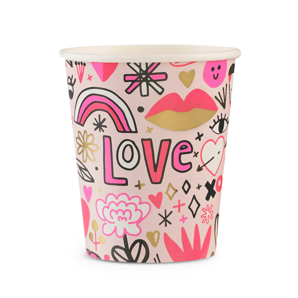 love note icons beautifully illustrated by Jordan Sondler. Assorted shades of pink with gold foil details. Suitable for hot and cold beverages and not for use in microwave.
