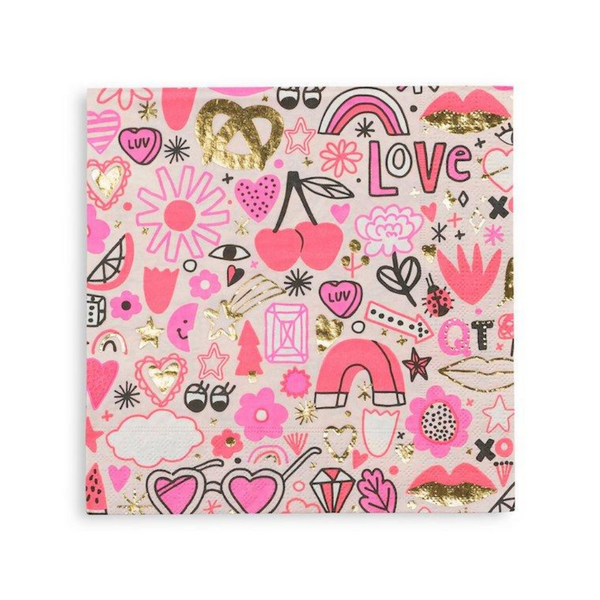 paper napkins in bright cheery shades of pink ranging from hot pink to soft pastel pink with whimsical icon illustrations by Jordan Sondler including  flowers, lips, hearts, rainbows, pretzels, dice  and xo's.