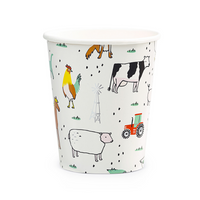 farm animal theme paper party cup featuring adorable farm print illustrated by Lindsey Balbiere includes cat, dog, cows, chicken, geese, horse, rooster, mouse, red tractor and a smiling sun. print is highlighted with shiny gold foil details