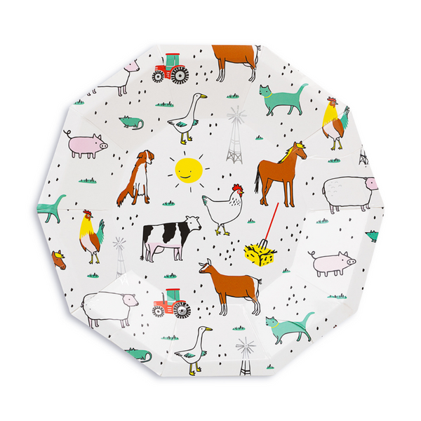 paper party plate with a charming farm animal print illustrated by Lindsey Balbierz  for the Daydream Society brand design includes a chicken, cow, geese, pig, rooster, cat , dog and a red tractor