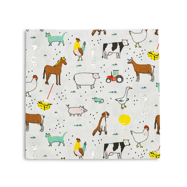 farm animal print large paper party napkins includes cat, dog, chicken, cow, geese, horse, mouse, sheep, rooster , tractor and a smiley sunshine.
