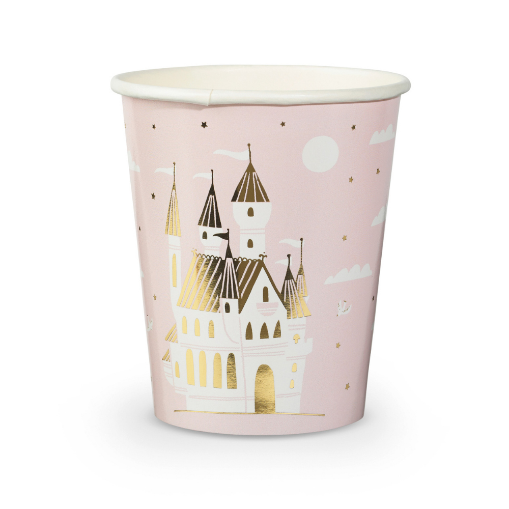 Sweet Princess paper party cups featuring a magical castle. Beautiful soft pink cups with  white fluffy clouds surrounding a large white castle with shiny gold foil details