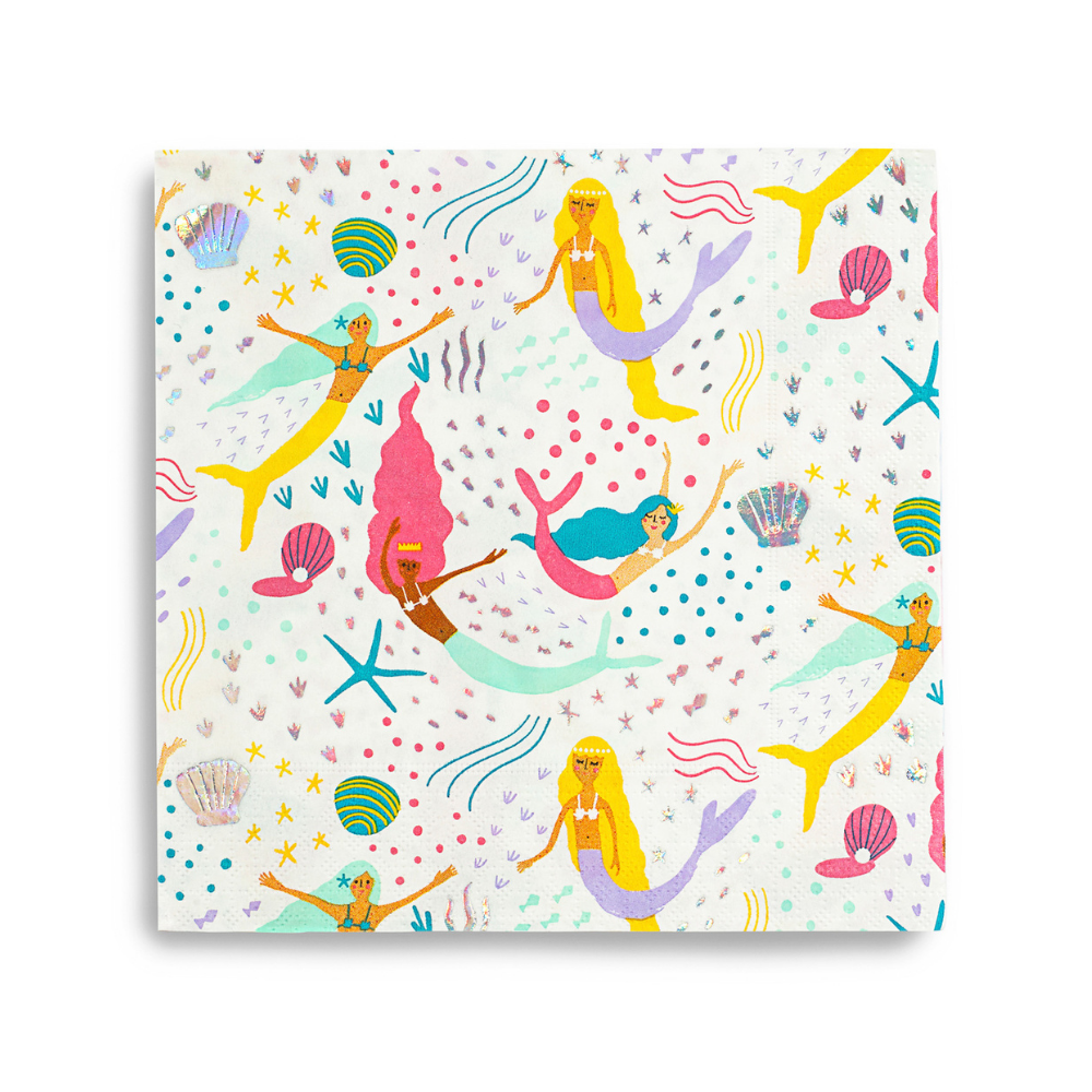 Beautifully illustrated mermaid print napkins in a combination of bright colors and highlighted with silver holographic foil . Pack of sixteen paper napkins