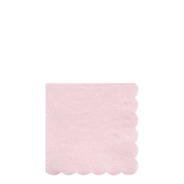 soft pink sustainable paper party napkins . Small size perfect for beverages, cocktails and desserts. Pack of twenty napkins