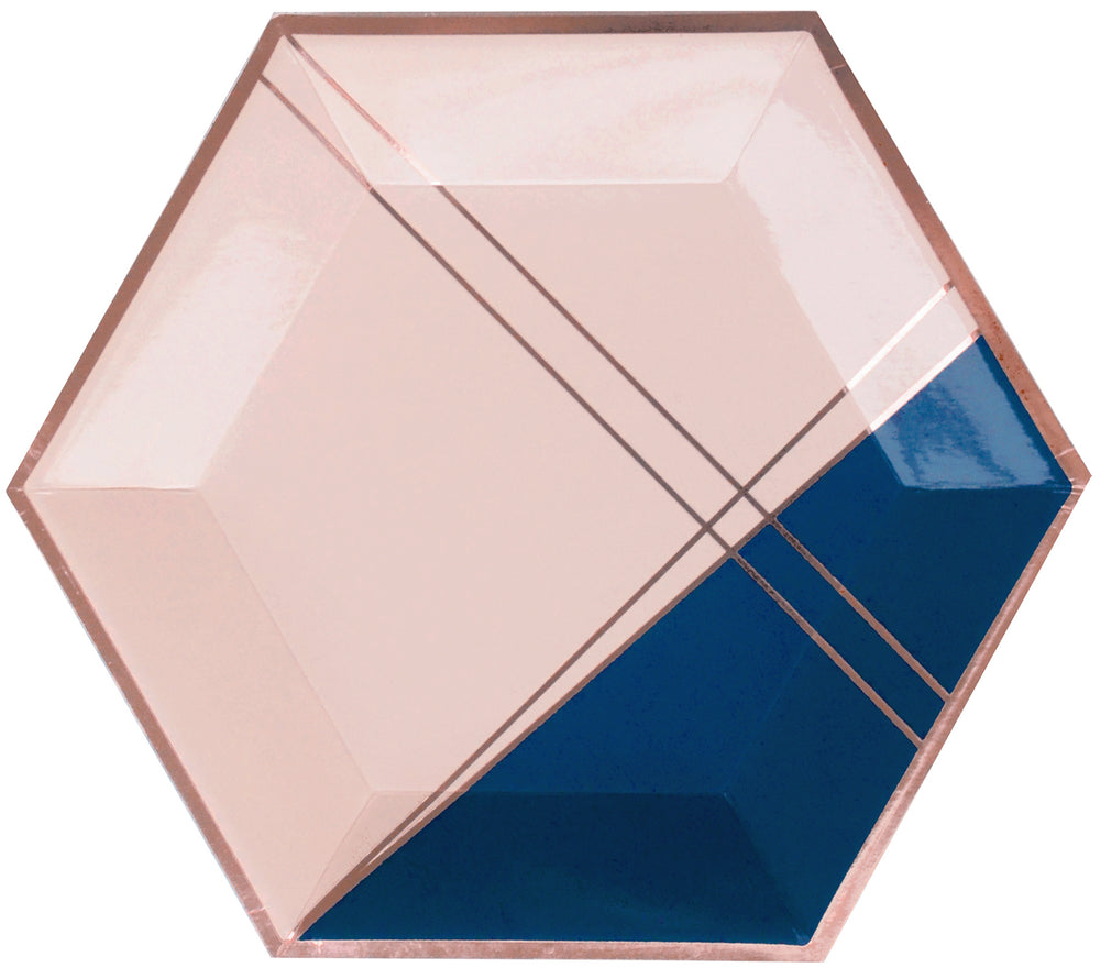 Premium paper plates by Harlow and Grey featuring pale pink, navy, rose gold foil hexagon shaped are perfect for any special event