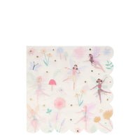 Napkins featuring a whimsical print including beautiful fairies, toadstool, butterflies and flowers in a pack of 16 large napkins