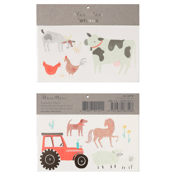 farm animal temporary tattoos includes pack of two sheets featuring a dog, horse, sheep, goat, rooster, chicken , cow and a bright red tractor.