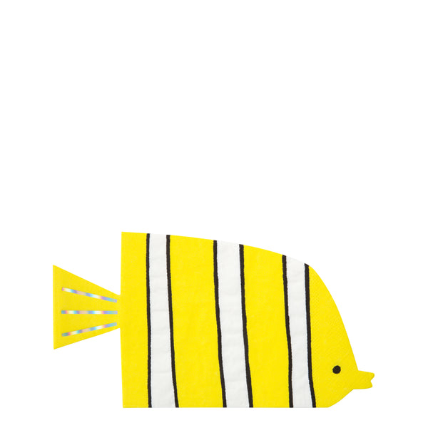 party napkins shaped in the shape of a fish with yellow with white and thin black stripes and iridescent foil detail stripes on tail
