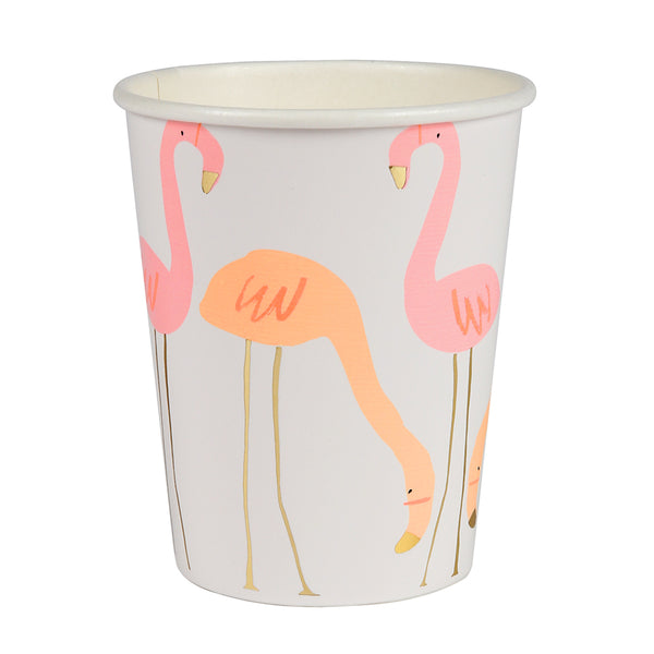 neon pink and coral flamingos printed on paper party cups and enhanced with shiny gold detail embellishments on beak and long legs.