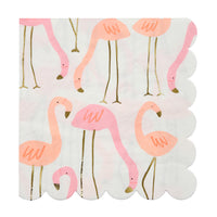Pink and coral flamingo print napkins with gold foil highlights, scalloped edge in a pack of sixteen large napkins