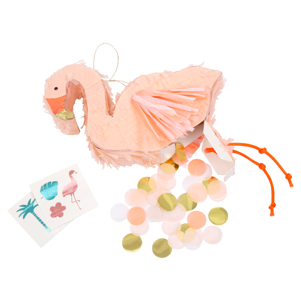 Flamingo pinata party favor in a soft coral color  with dark coral beak, wings and  knotted cord dangly legs, this flamingo is pre-filled with two temporary tattoos and confetti