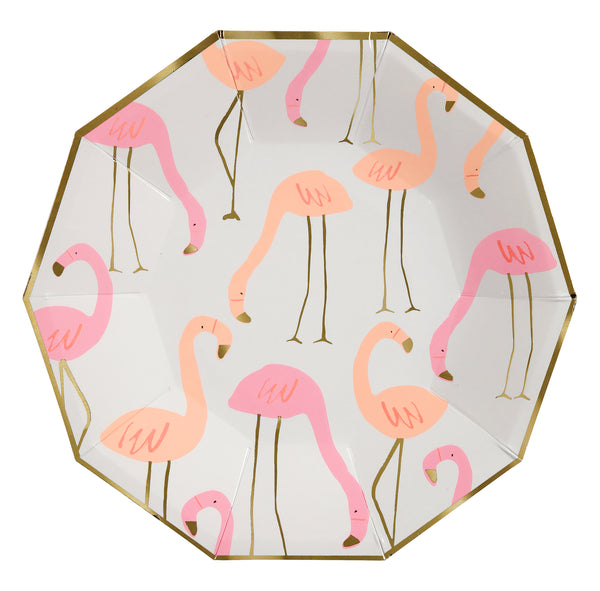 Pink and coral flamingo print party plates with legs, beak and border highlighted in shiny gold foil . Large size nine inch diameter
