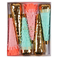 make some noise with this assorted pack of six party horns made with fringed crepe paper, pack includes two coral, two mint green and two made in shiny gold mylar.