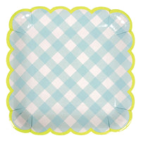 Blue Gingham Plate - Large