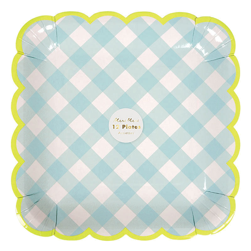 blue gingham in blue shades with a scolloped border in neon green