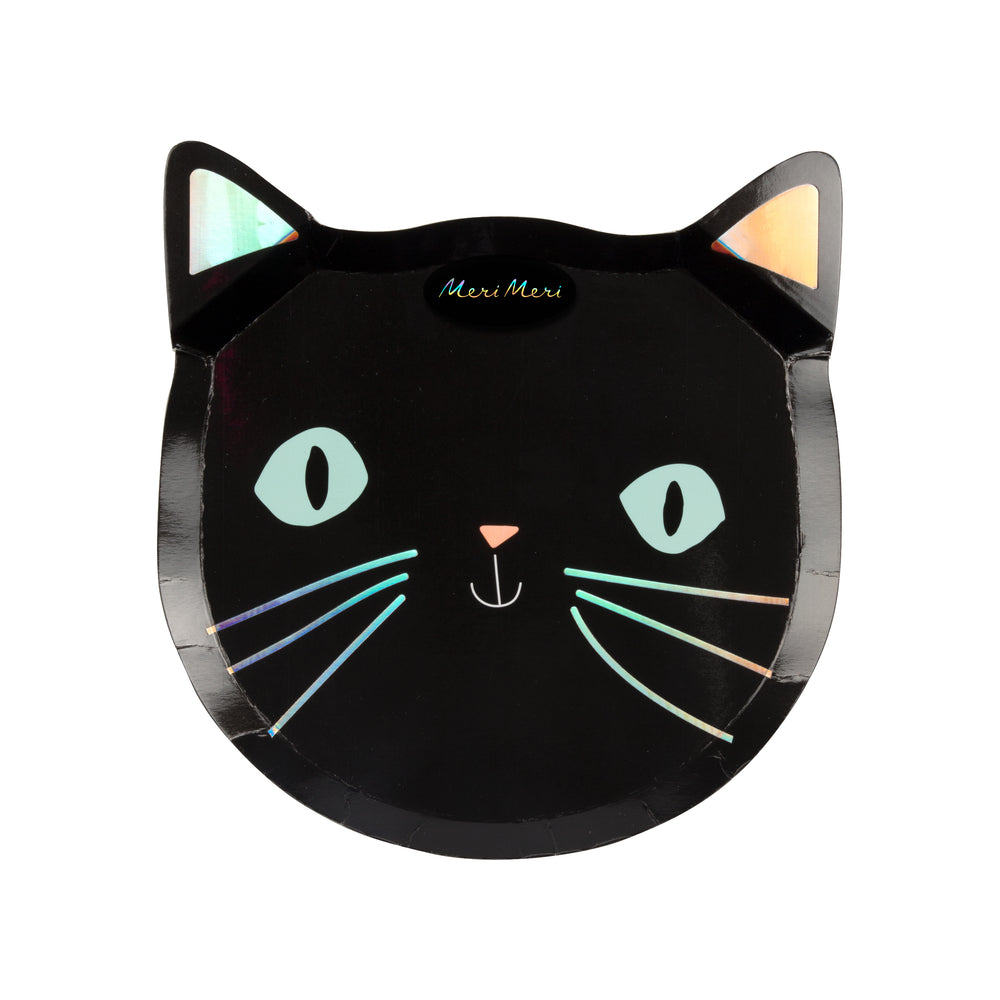 Black Cat Halloween Plates