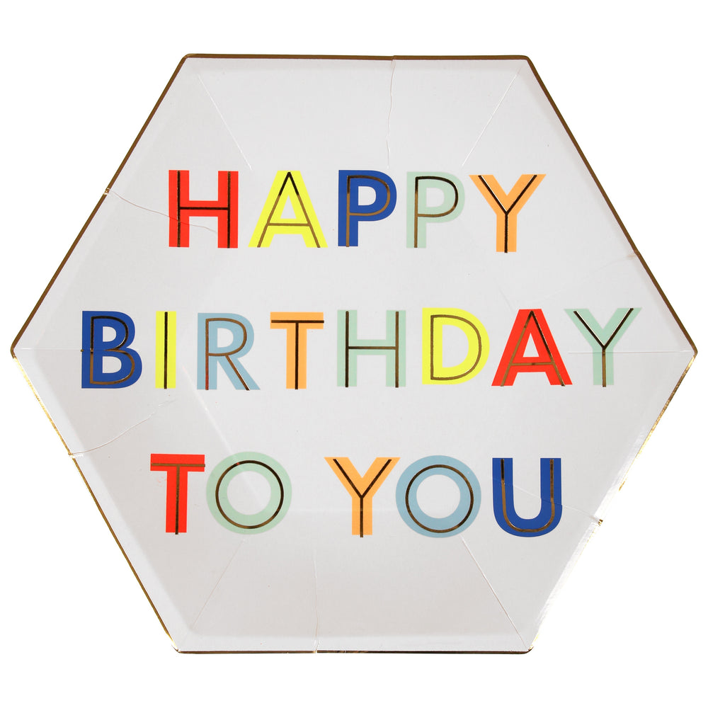 six sided octagon shaped plates with colorful words printed in the center of the plate spelling out happy birthday to you. large size plate in a set of eight