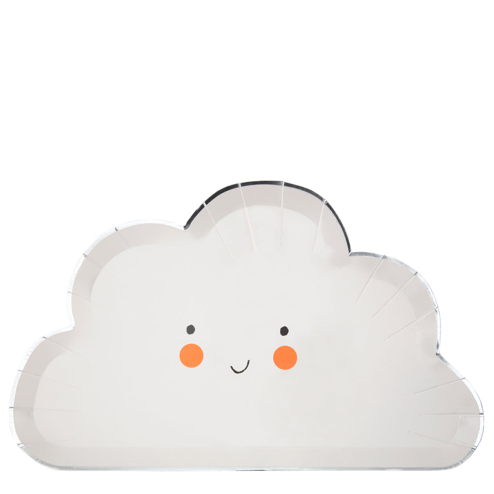 Fluffy white cloud shaped plates with a happy smile and bright cheeks and a shiny silver border