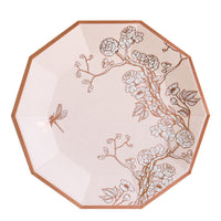 Inspired by chinoiserie art, this Jardin collection of high quality disposable tableware is a soft and dreamy pale pink with a shiny rose gold motif, these plates add an elegant vibe to your bridal showers, birthday, tea parties, and all special occasions alike.