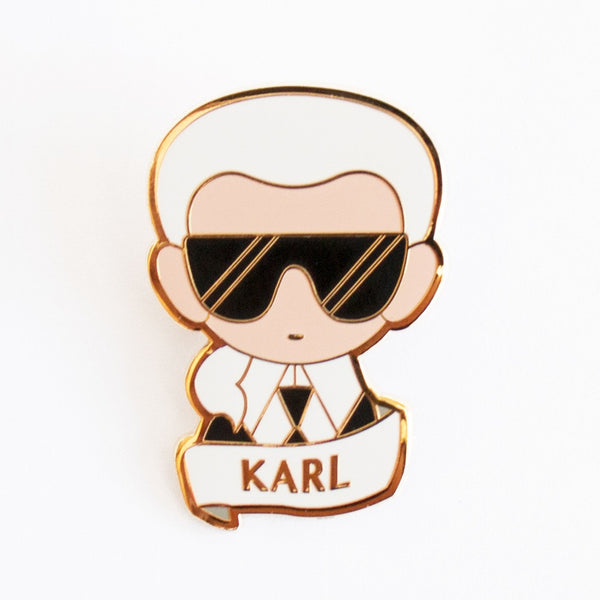 Karl Lagerfeld enamel brooch is the perfect favor for fashion themed parties or events