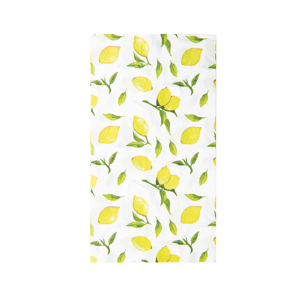 white with bright yellow and green lemon print paper napkins, for use as dinner napkins or guest towels folded size 4.25 x 7.75 inches