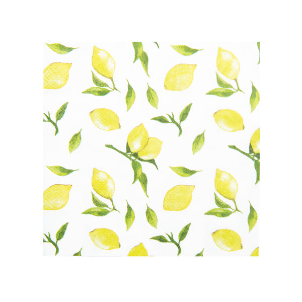 white cocktail and beverage sized napkins with a lemon print in yellow and green perfect for spring and summer parties and events.