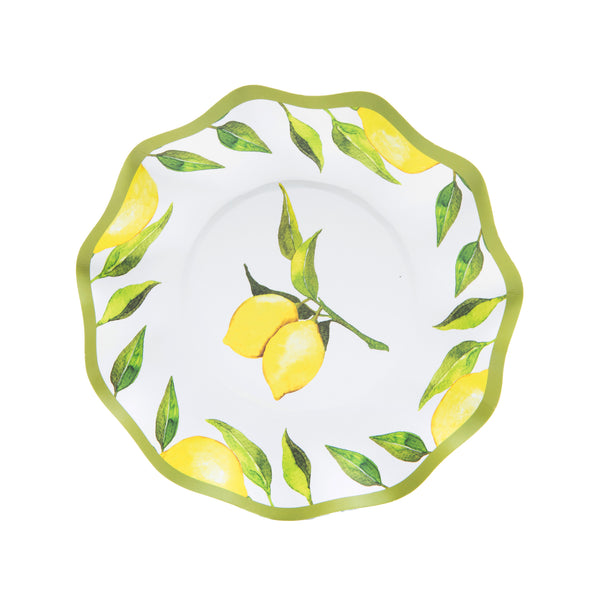 bright yellow and green lemon print on white paper bowl  with a green trim  border and large set of lemons printed in center  of bowl.
