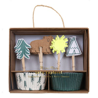 Cupcake kit - pine trees and bears for summer or winter party treats by Meri Meri at Pop Up Party Store