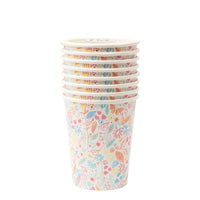 Magical princess party cup with whimsical flowers and leaves with gold foil details. Pack of 8 paper party cups for use with hot and cold beverages.Cups holds nine ounces.