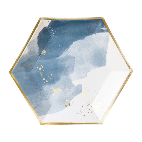 Blue watercolor plates inspired by the waves of California with splashes of gold and trim. Large dinner plate pack of 8