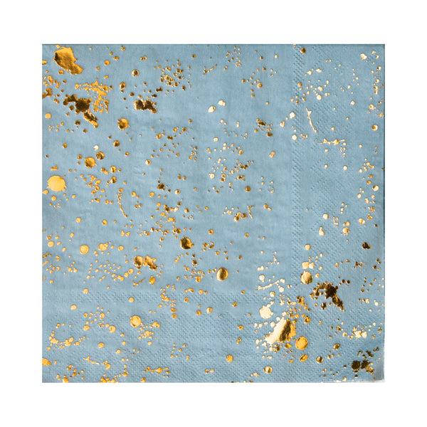 these paper napkins in a beautiful ocean blue color and generous splashes of bright gold foil will enhance your tabletop decor, perfect for luncheons or dinner parties alike. Also available in appetizer and beverage sized napkins