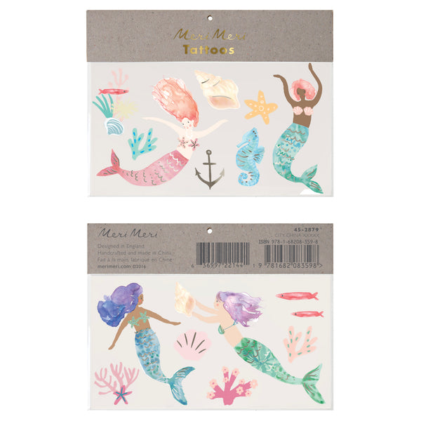 beautifully illustrated watercolored temporary tattoos featuring four mermaids, seahorse, starfish, seashells, fish, coral and anchor. Set of 2 sheets, perfect for a party activity or to stuff in a favor bag. For ages 3 plus years of age