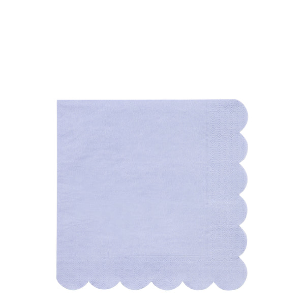 Sustainable paper party napkins in periwinkle blue in a pack of 20 large napkins. one hundred percent sustainable