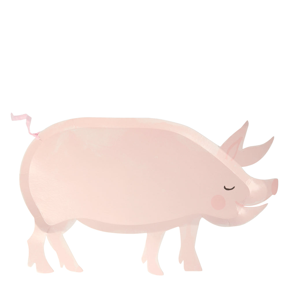 pink pig paper party plates die-cut into the shape of a pig with a rafia tail , rosy nose & cheek comes in a pack of twelve plates. Perfect with the On the Farm party theme collection