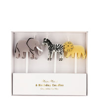Safari animal candles in a set of six candles, two elephants, two zebras and two lions.