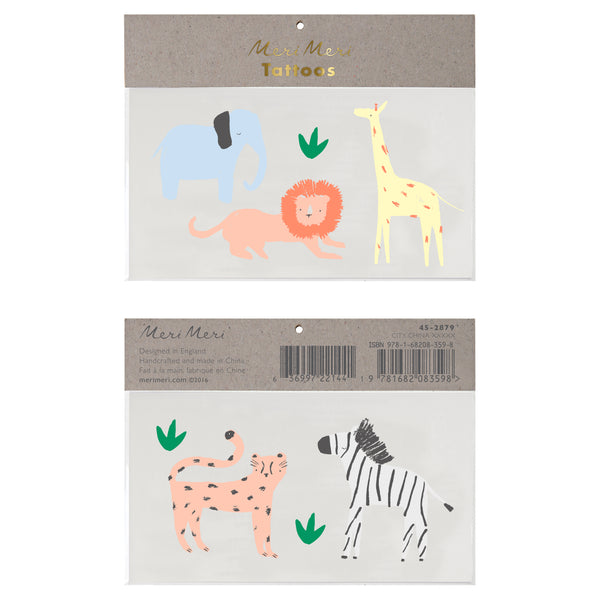 kids safari animal temporary tattoos including an elephant, lion, giraffe, tiger and zebra. perfect for kids activities and party favors .