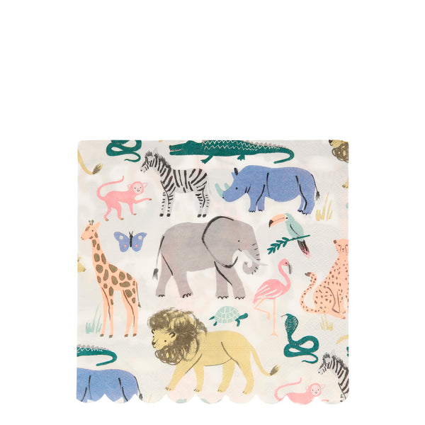 safari print napkins featuring beautifully illustrated animals including elephants, cheetahs, rhinos, snakes. lions, kangaroos, toucan, zebra and more. sold in a pack of 20 large lunch paper party napkins