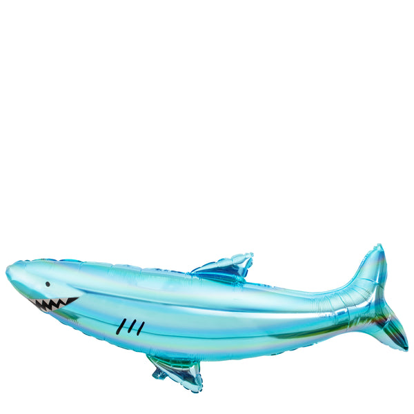 Shark shaped balloon made of shiny holographic blue mylar foil complete with straw to inflate or can be inflated with helium, helium is not included.