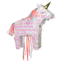 Mini unicorn pinata made with iridescent fringe paper and is pre-filled with multi-colored confetti and temporary tattoos