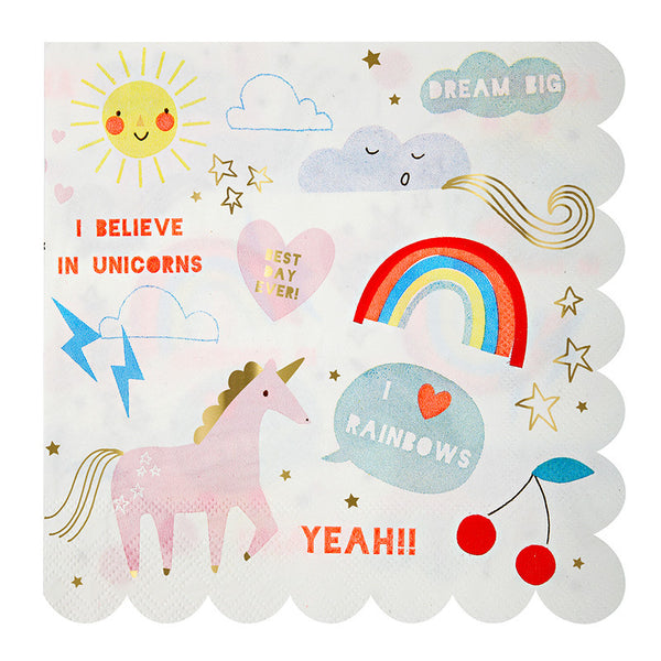 Rainbow & Unicorns Napkins - Large