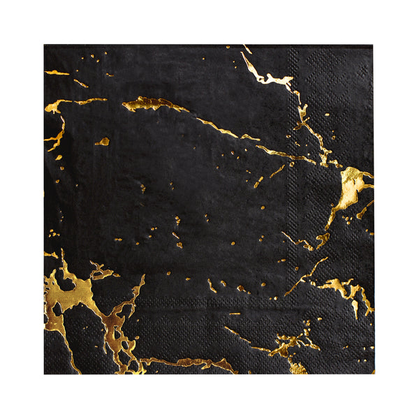 high quality napkins by Harlow and Grey featuring black marble print napkins with embossed gold foil marble veins, pack of twenty paper napkins