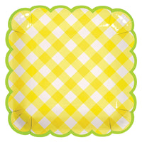 Yellow Gingham Plate - Large