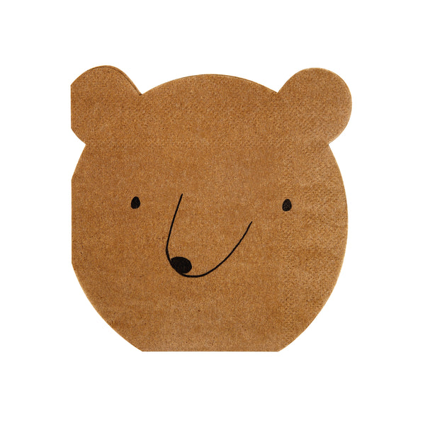 brown paper napkins die-cut into the shape of a bears head. These cute napkins look great with the Let's Explore collection.