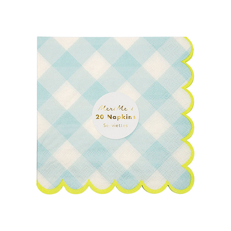 Blue Gingham Napkins - Small