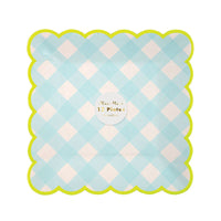 classic gingham print plates in light blue with a scalloped edge and neon green border, 7.5 inches square, pack of 12