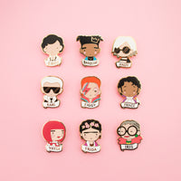 Coco, Karl, Yayoi, Basquiat,David Bowie,Frida, Andy Warhol,Prince, Iris and more. Famous icons made into colorful and high quality enamel brooches. Buy one or collect them all.