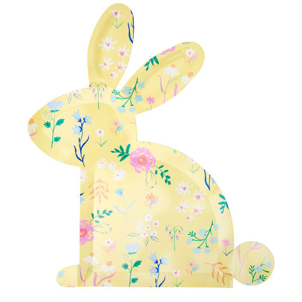 Spring inspired paper plates die-cut into the shape of a bunny each with a spring floral print graphic. Pack of twelve plates in four printed pastel colors per set ( three of each of the four colors)