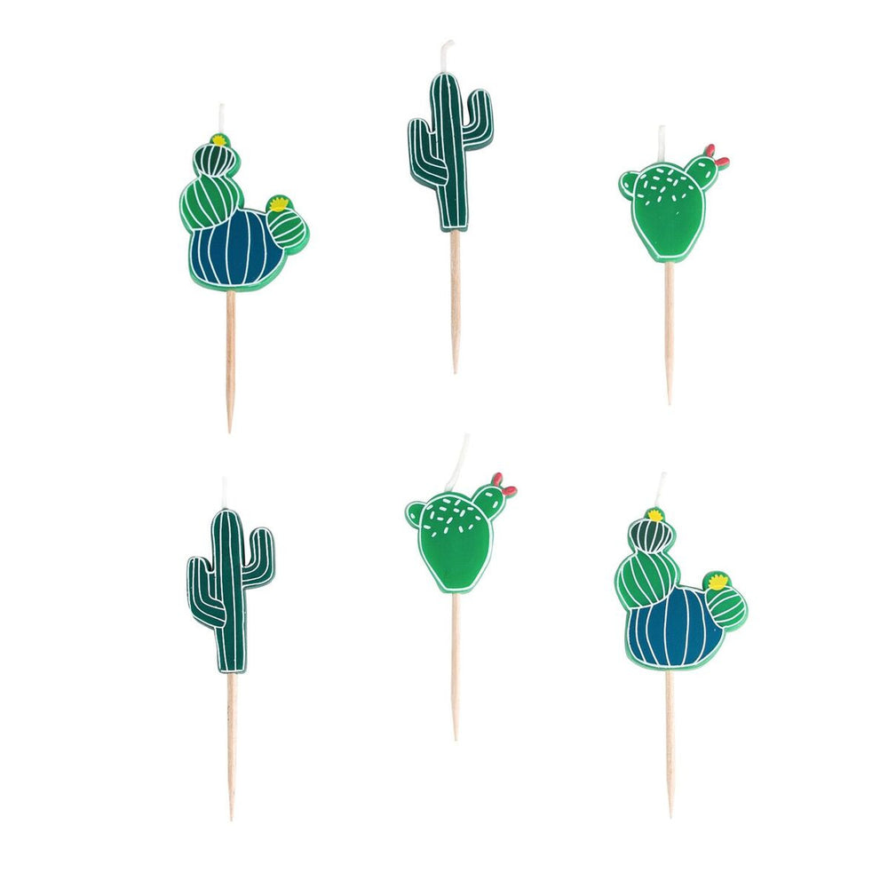 set of six cactus shaped birthday candles, green