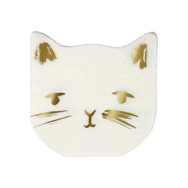 white paper napkins die-cut into the shape of a cats head with gold foil facial details