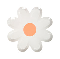 daisy shaped plate with a pastel coral center, large plate